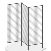 Three black grid panels are held to form a z-shaped grid panels