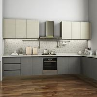 Wholesale L Shaped Melamine Kitchen Cabinets With Stainless Steel Appliances European Style from china suppliers
