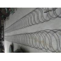 Wholesale PVC Prison Razor Barbed Wire Fence , Green Color Concertina Wire Fencing from china suppliers