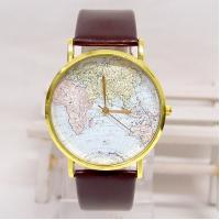 Wholesale Retro Style Leather Band Quartz Watch , World Map Men Casual Wristwatch from china suppliers