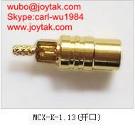 Wholesale High quality gold plated MCX jack streight crimp coaxial adapter MCX-K-1.13 open window from china suppliers