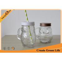 Wholesale 400ml Clear Glass Owl Mason Drinking Jars with Screw Lid and Straw from china suppliers