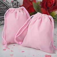 Wholesale Printed Pink Velvet Drawstring Bag , Fabric Drawstring Gift Bags from china suppliers