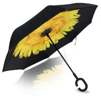Wholesale 2017 New Arrival Two Layers Customized Print Reverse Inverted Umbrella with C Shape Handle from china suppliers
