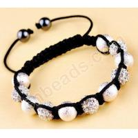 Wholesale metal bead shamballa bracelet handmade cord jewelry from china suppliers