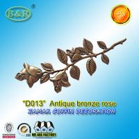Wholesale Metal coffin decoration zamak rose zinc alloy flower D013  45cm*13cm Antique bronze from china suppliers