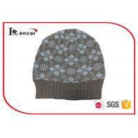 Wholesale Ribbed Edge Winter Knit Hats Silver Lurex Snowflake Pattern , Knitted Beanie Hat from china suppliers
