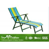 Wholesale Patio 5 Position Beach Chair With Footrest / Sling Fabric Chaise Lounge Outdoor Furniture from china suppliers