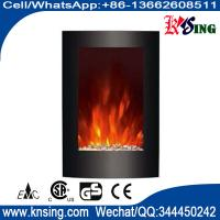 "Wholesale 23""Black Curved Tempered Glass Standing Wall Mounted Electric Fireplace Heater Pebbles Fuel  flame EF494L space heater from china suppliers"