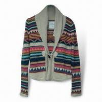 Wholesale Jacquard Knit Ladies' Cardigan, Made of 57% Acrylic and 43% Cotton from china suppliers