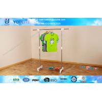 Wholesale Portable Mobile Bedroom Single Rod Clothes Hanger Rack / Steel Pipe Garment Clothing Rack from china suppliers