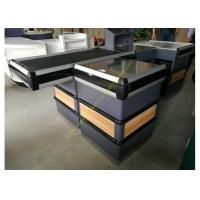 Wholesale Supermarket Metal Conveyor Belt Cashier Checkout Counter With Steel Wood Anti-corrosion from china suppliers