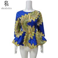Wholesale Beautiful Womens African Print Peplum Bottom Tops Slim Fit Customized Size from china suppliers