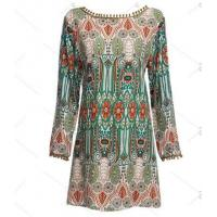 Wholesale Ethnic Style Round Collar Tribal Print Tassel Women polyester Dress from china suppliers