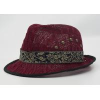 Wholesale Dark Red Mesh Fisherman Bucket Hat With Silk Ribbon For Summer from china suppliers