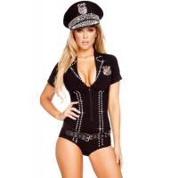 Wholesale Wholesale Cop Robber Costumes Spandex Black Sexy Officer Bling Cop Costume for Halloween Christmas XXS to XXXL from china suppliers
