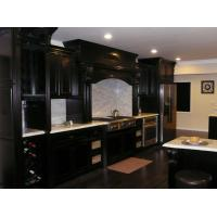 Wholesale European Dark Black Solid Wood Kitchen Cabinets With White Marble Countertops from china suppliers