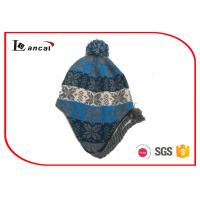 Wholesale Multi Color Pom And Braid Knitted Trapper Hat For Boys , Fur Bomber Hat from china suppliers
