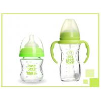Quality Green Baby Glass Water Bottle Unbreakable Heat Resistant BPA Free LW-NF02C for sale
