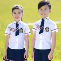 Square Collar Polyester Kids School Uniform White Short Shirt For Girls And Boys for sale