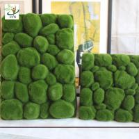 Wholesale UVG factory direct sale decorative flocking foam artificial moss in green for home garden landscap GRS038 from china suppliers