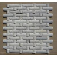 Wholesale Natural Stone Mosaic China White Travertine Mosaic with Convex Surface for Wall Decoration from china suppliers