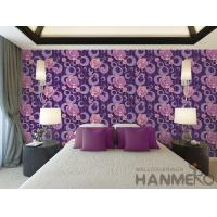 Wholesale Purple Floral Pattern 3D Home Wallpaper , PVC 1.06M 3D Wallpaper For Room Wall from china suppliers