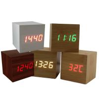 Quality Hot USB/AAA Powered Cube LED Digital Alarm Clock Square Modern Sound Control Wood Clock Display Temperature Night Light for sale