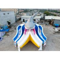 Wholesale Plato PVC Tarpaulin Giant Shark Theme Inflatable Dry Slide 0.55MM Thickness from china suppliers