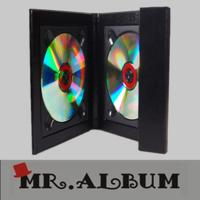 Wholesale Black leather double CD case with overlapping cover_CD case with magnet from china suppliers