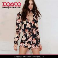 Wholesale Women Floral Print Romper Suits Long Sleeve Rose Print Jumpsuit short from china suppliers