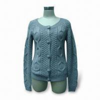 Wholesale Ladies' Cardigan, Made of 50% Wool and 50% Acrylic from china suppliers