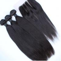Wholesale Unprocessed virgin peruvian hair bundles,Silky Straight pure virgin peruvian hair with lace closure from china suppliers