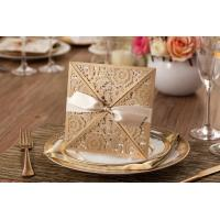 Wholesale 2015 New Arrival Unique Laser Cut Floral Wedding Invitation Cards Golden from china suppliers