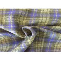 Quality 400g/M Soft Wool Check Fabric , Scarf Tartan Wool Fabric Fashionable for sale