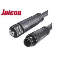 Black Wire Waterproof Male Female Connector 10A / 300V 3 Pin Metal Screw Type