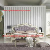 Wholesale Flowers Headboard Wooden Bed in Neoclassical fabric design for luxury multiple star B& B Room Furniture from china suppliers