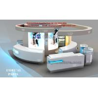 Wholesale Cosmetic Display Kiosk in White Counters and Glass Showcase in green water LED light box from china suppliers