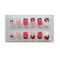 Wholesale Red cartoon Kids Fake Nails for little girls , 12pcs 3D nail tips from china suppliers