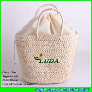 Buy cheap LUDA drawstring bag handmade lady handbags plain cornhusk straw bag from wholesalers