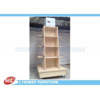 Wholesale Mobile Wine Wooden Display Stands MDF Melamine Display Stand With Casters from china suppliers