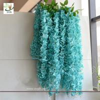 Wholesale UVG WIS006 Blue silk wisteria artificial flower for wedding and party decoration from china suppliers