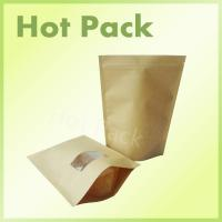 Wholesale Resealable Zipper Kraft Paper Stand Up Pouch With Transparent Window from china suppliers