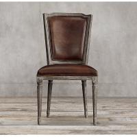 Wholesale Top Grain Dark Brown Leather Dining Chairs / Leather Studded Dining Chairs from china suppliers