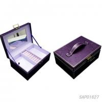 Wholesale Purple Small Cosmetic Jewelry Travel Box With Makeup Glass Mirror from china suppliers
