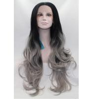 Wholesale Factory Price Ombre Gray Color Synthetic Lace Front Wigs Wave Style from china suppliers