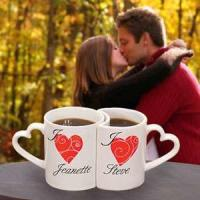 Wholesale Unique 300ML love Couples Coffee Mugs With Heart Shape Handle from china suppliers