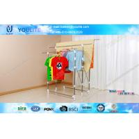 Wholesale Three Pole Standing Folding Clothes Rack , Modern Multi-bar Telescopic Clothes Racks from china suppliers