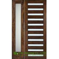 Wholesale Prehung solid Timber Entry door with frosted glass, PU painted from china suppliers