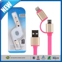 Wholesale 2in1 Micro Cell Phone USB Cable Sync Data Charging Flat Noodle For Samsung / Iphone from china suppliers
